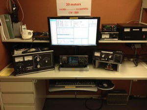 One of the stations setup to work a contest on 20 meters